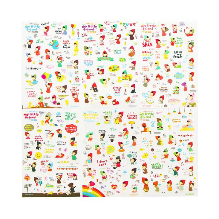 Bộ 6 tấm sticker cô bé quàng khăn đỏ ( trang trí sổ nhật ký, sổ kế hoạch)