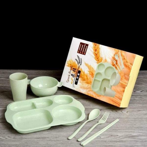 Bộ Khay đựng đồ ăn kèm phụ kiện bằng Lúa Mạch Xinh Xắn (giao màu ngẫu nhiên)