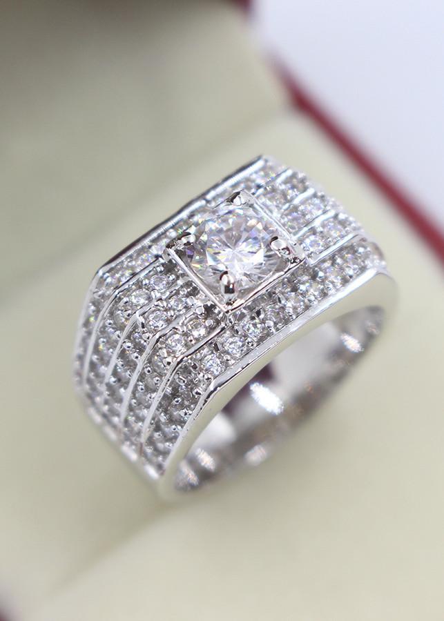 Nhẫn bạc nam bản to đính đá cao cấp NNA0060 - 18