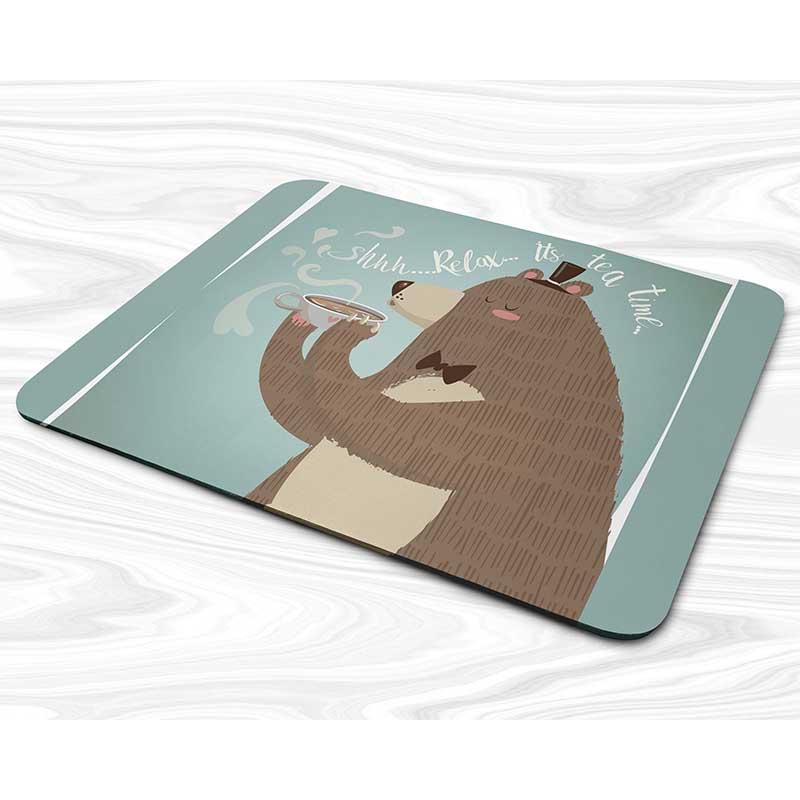 Miếng lót chuột mẫu Gấu uống cafe