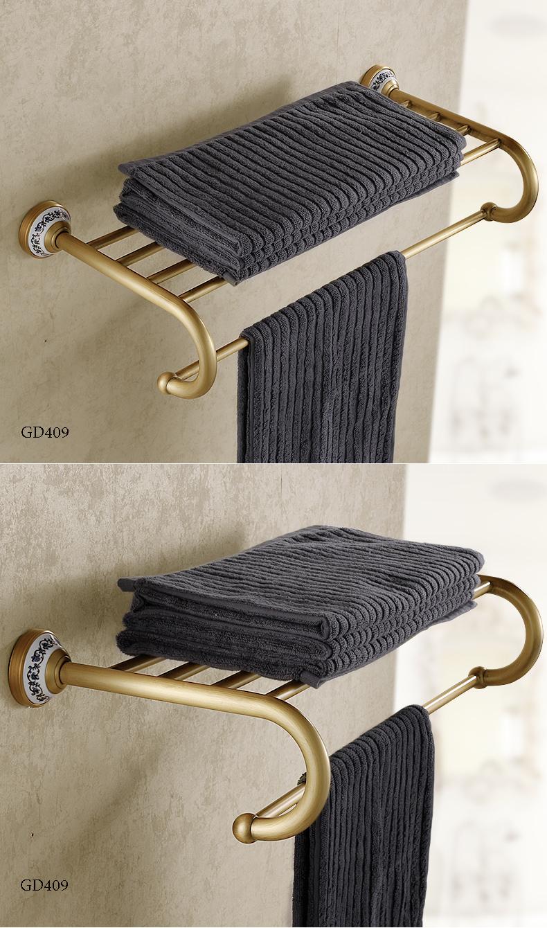 Giá treo khăn phòng tắm đa năng 02 tầng đồng cao cấp GD409