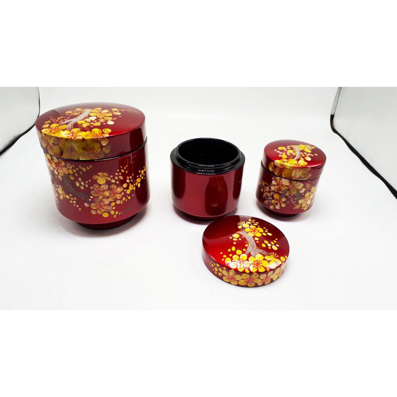 Bộ 3 hũ kẹo - quà tết vẽ hoa mai MNV-SMTT06