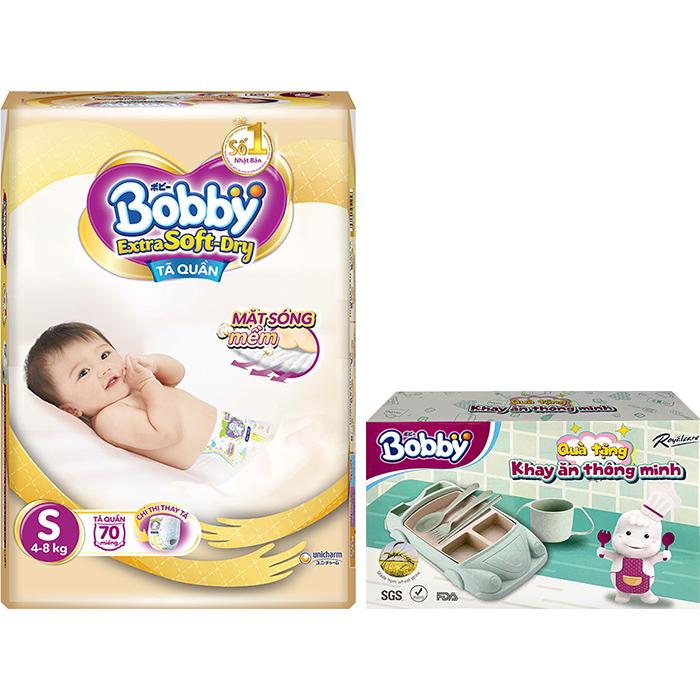 Tã Quần Bobby Extra Soft  Dry S70 - Tặng Khay Ăn Thông Minh