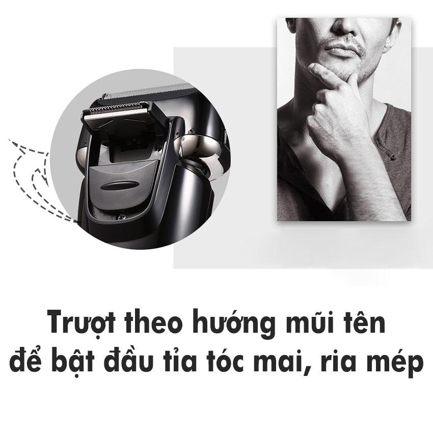 Máy cạo râu cao cấp Kemei-1531 thiết kế 3 lưỡi dao cạo khô và ướt với công nghệ chống thấm nước IPX7, màn hình LCD hiển thị thông minh