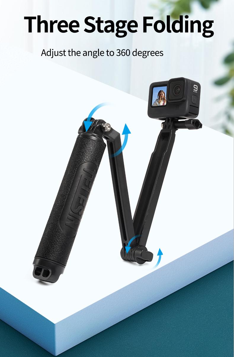 Gậy Selfie Stick TELESIN cầm tay cho Gopro , Action Camera, tay gấp ,đa chức năng, gậy chụp ảnh tự sướng , chân máy ảnh cho action camera (Hàng Chính Hãng)