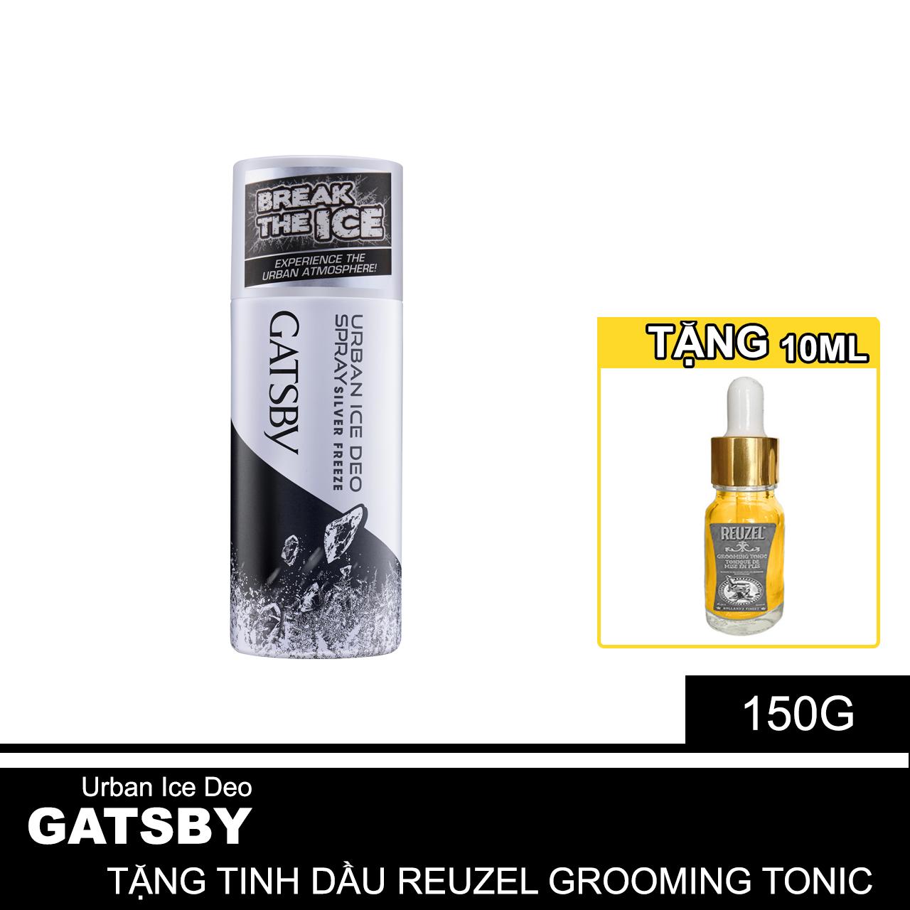 Xịt Khử Mùi Nam Gatsby Hương Nước Hoa Làm Mát Urban Ice Deo Spray 150ml + Tặng Reuzel Grooming Tonic - Chính hãng