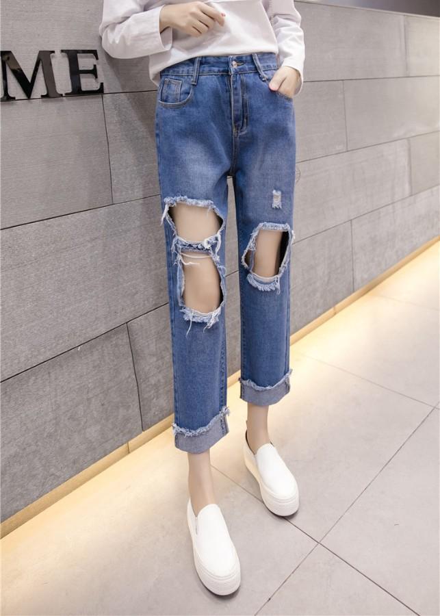 Quần jeans nữ rách lỗ cá tính Mã QD1834