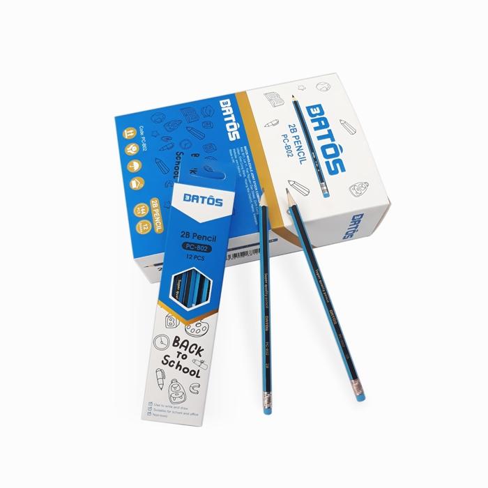 Bút chì gỗ Batos PC-2B - Hộp 12 chiếc - Bút chì 2B có gôm tẩy