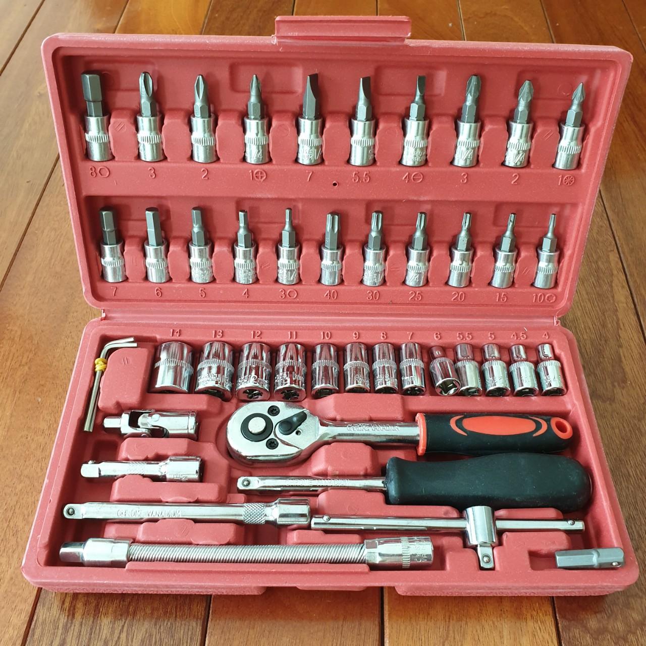 Bộ dụng cụ sửa chữa đa năng - khẩu vặn ốc vít đa năng 46 chi tiết