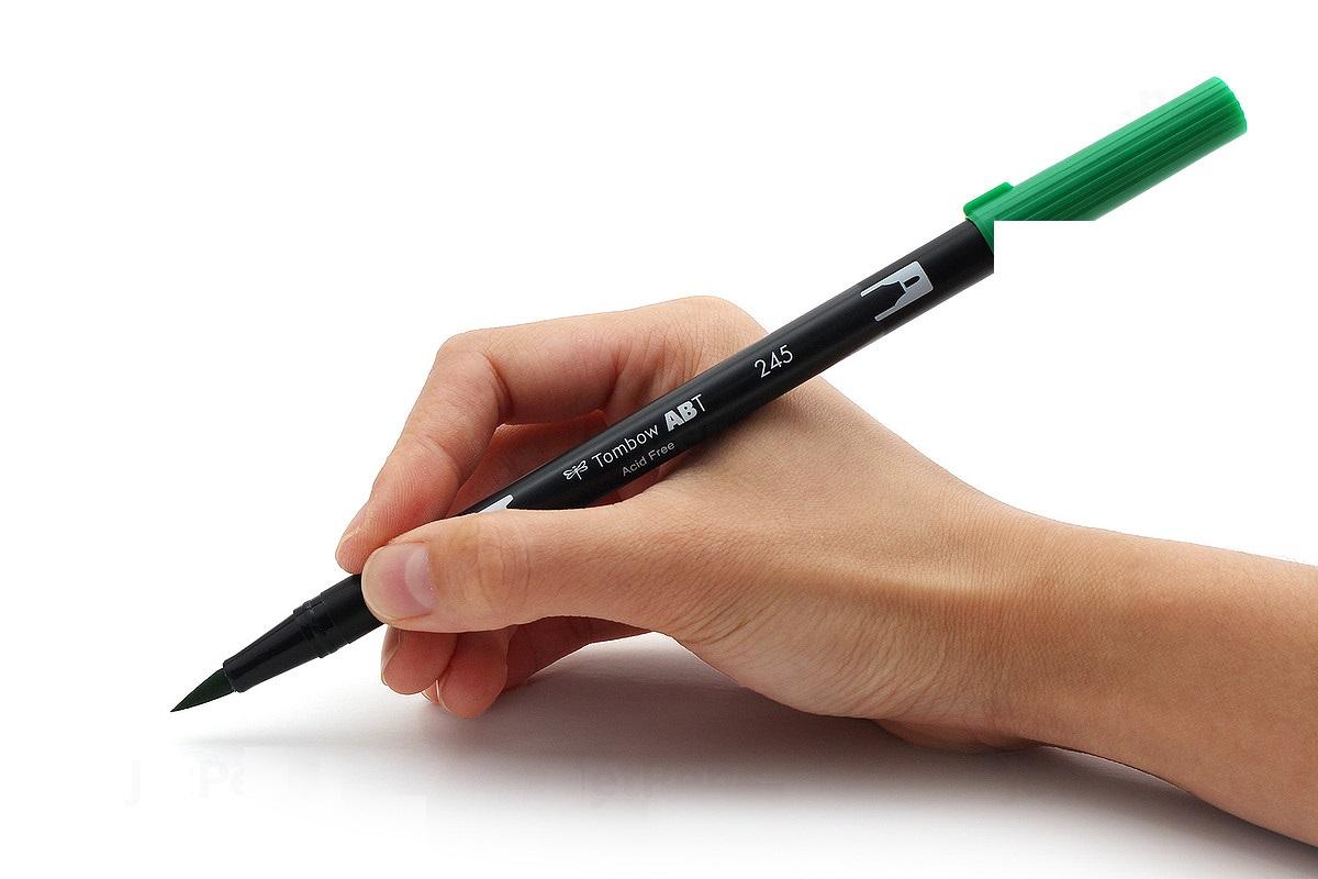 Bút lông cọ hai đầu Tombow ABT Dual Brush Pen - Brush/ Bullet - Green Ochre (076)