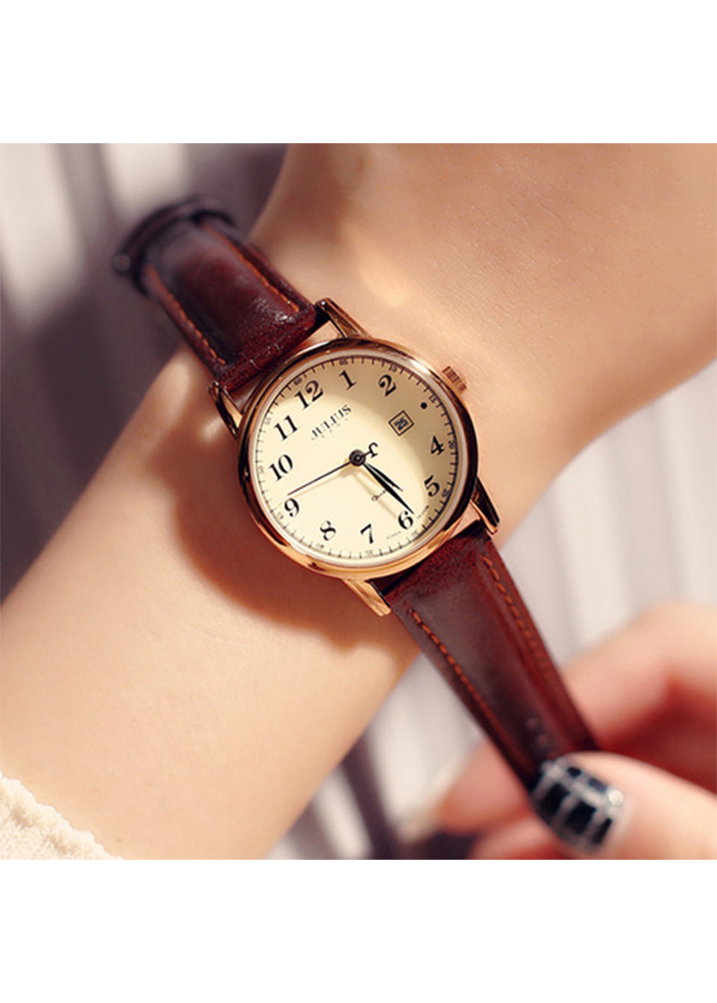 Đồng hồ nữ julius Hàn Quốc JA-508LC dây da có lịch ngày (Nâu)