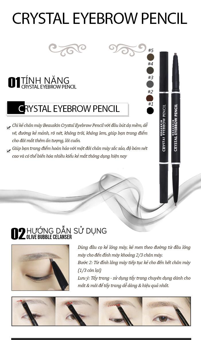 Chì kẻ chân mày Beauskin Crystal Eyebrow Pencil Hàn Quốc + Móc khóa 1