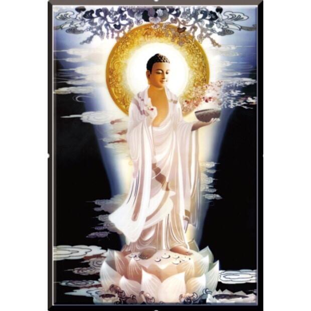Tranh thêu chữ thập Dược Sư Lưu Ly Quang Dương Phật (44*60cm) chưa thêu