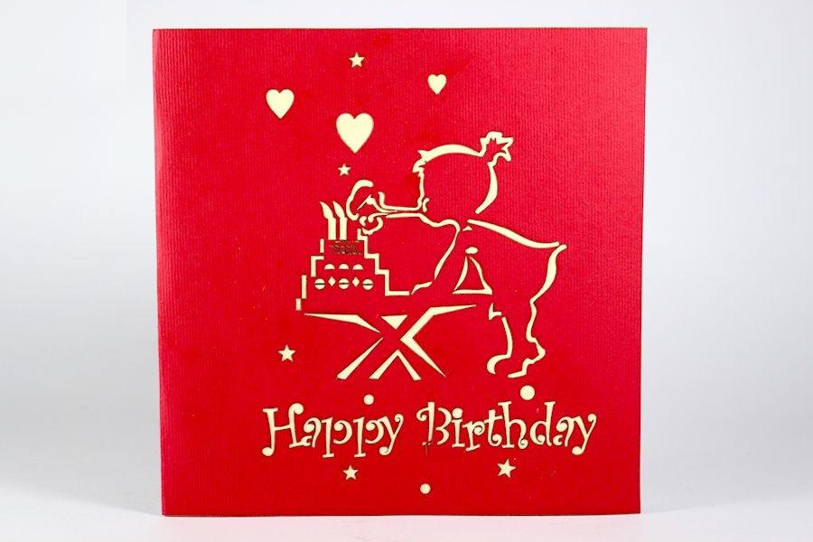Thiệp 3D Sinh nhật - Thanh Toàn - Sinh nhật bé gái thổi nến - NV15