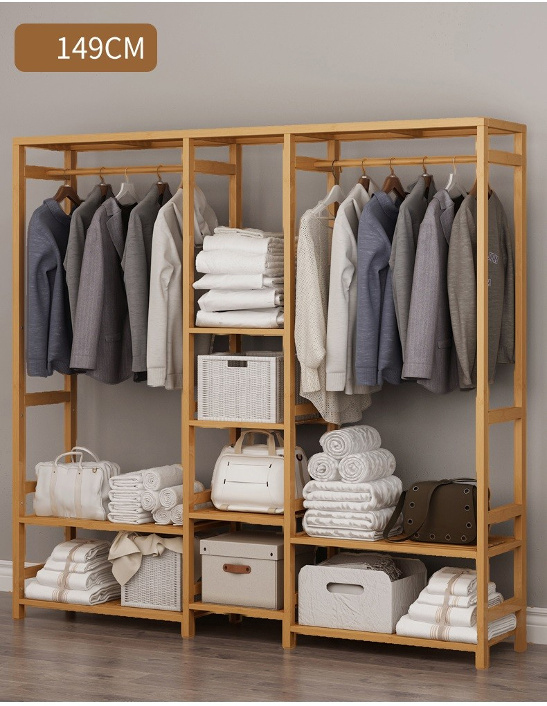 Tủ treo quần áo size lớn gỗ tre đẹp - Tủ quần áo trống khung tre mẫu lớn 149x30x165