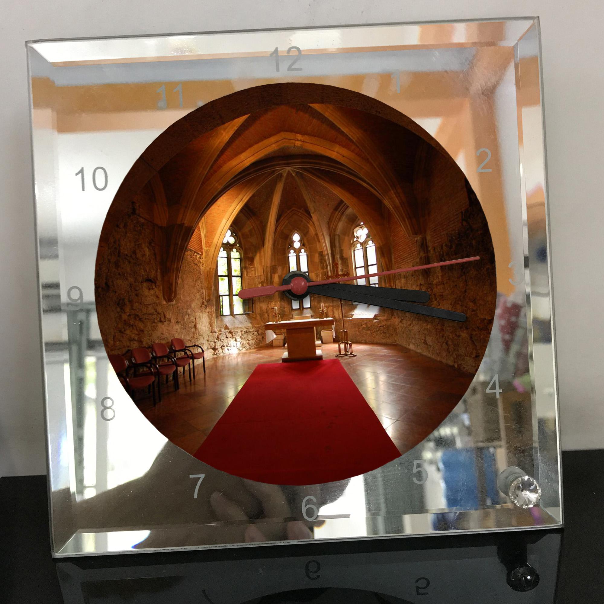 Đồng hồ thủy tinh vuông 20x20 in hình Church - nhà thờ (208) . Đồng hồ thủy tinh để bàn trang trí đẹp chủ đề tôn giáo