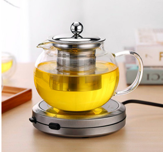Ấm trà thủy tinh tròn trong suốt chịu nhiệt cao co lõi lọc inox - ANTH676