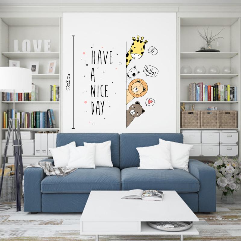 Decal Dán Tường Hình Thú Cưng Lấp Ló  | Decal Dán Tường Trang Trí Phòng Ngủ Cho Bé