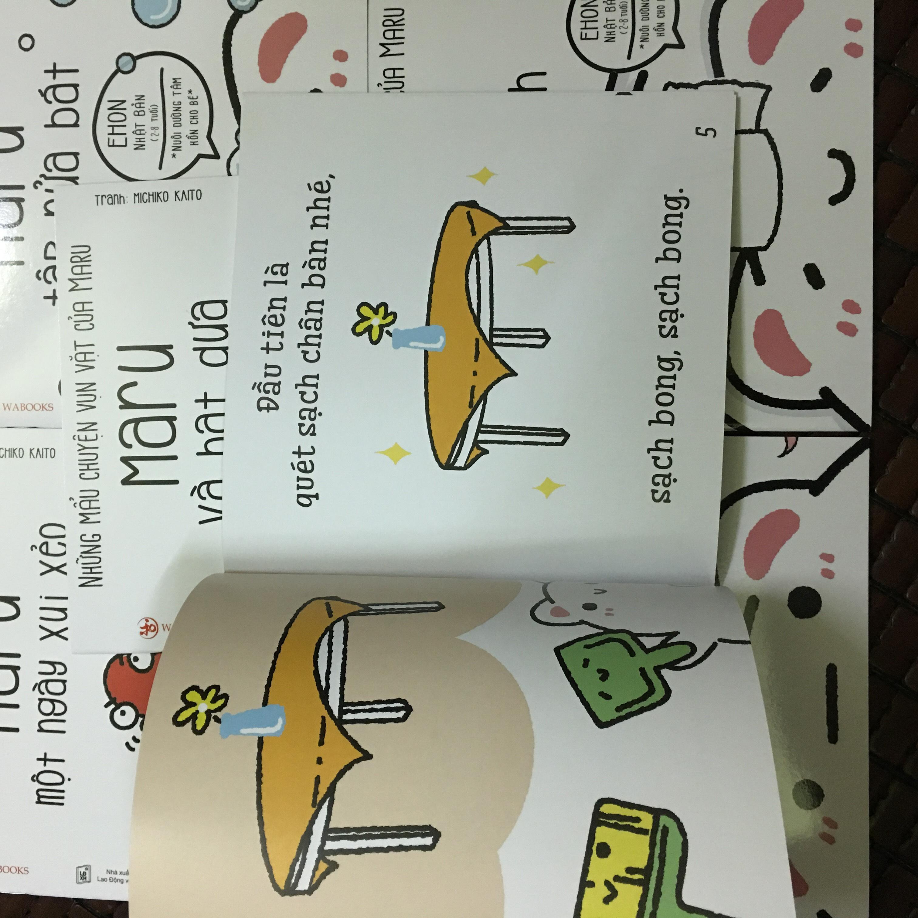 Ehon Nhật Bản - Nuôi dưỡng tâm hồn cho bé - Những mẩu chuyện vụn vặt của Maru ( trọn bộ 6 cuốn ) tặng kèm 1 tẩy hình con vật như hình