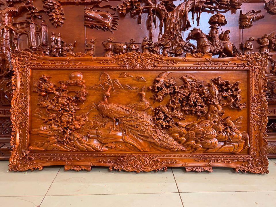 Tranh gỗ treo tường phu thê - gỗ hương đỏ