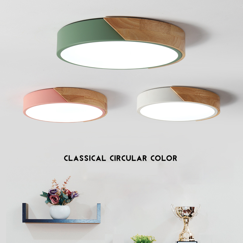 Đèn ốp trần - đèn trần - đèn ốp cầu thang, hành lang VINTAGE ốp gỗ 3 chế độ màu ánh sáng