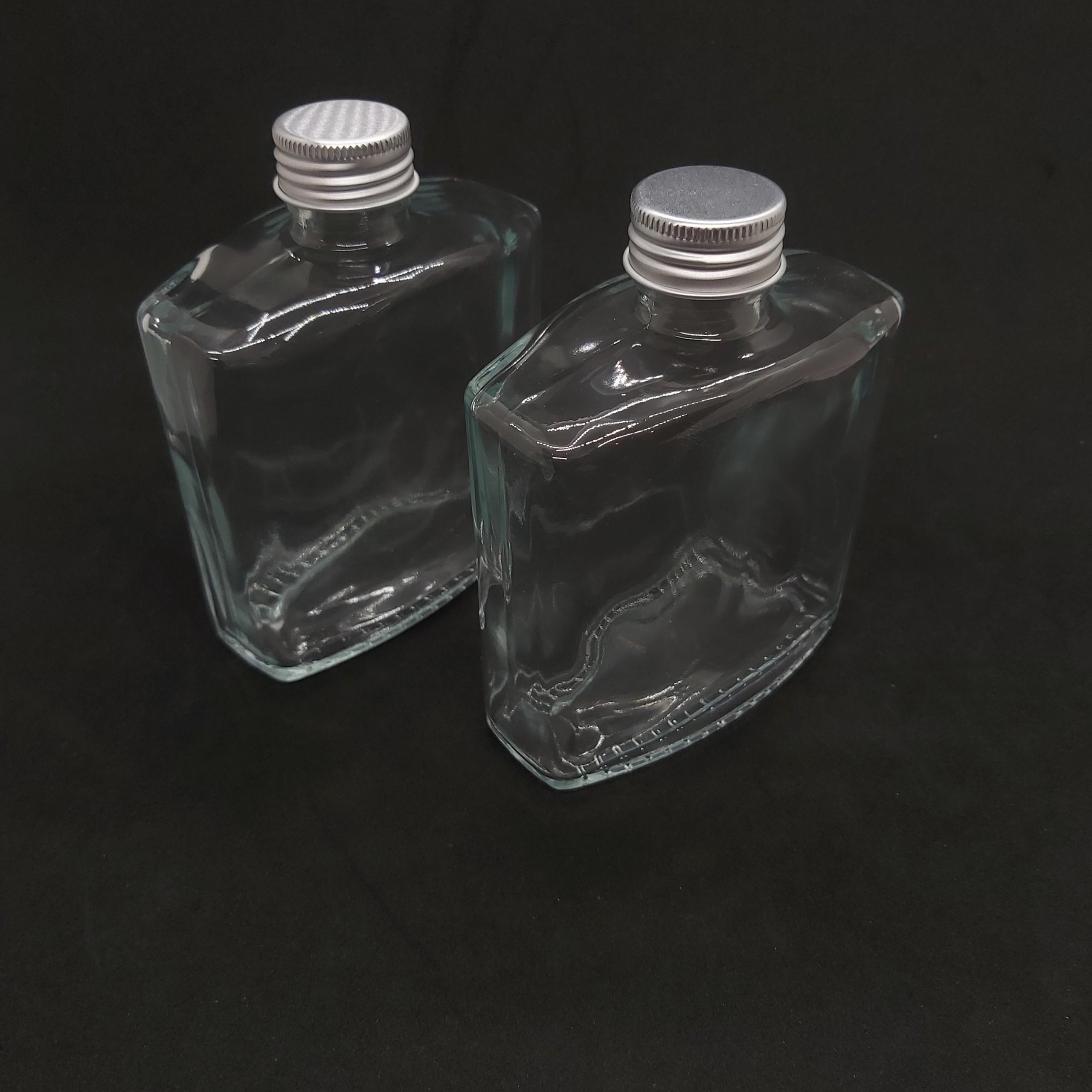 Combo 2 Chai thủy tinh 250ML VUÔNG – Kiểu DẸT nắp Nhôm - Vỏ Chai 250ML, bình thủy tinh trong suốt