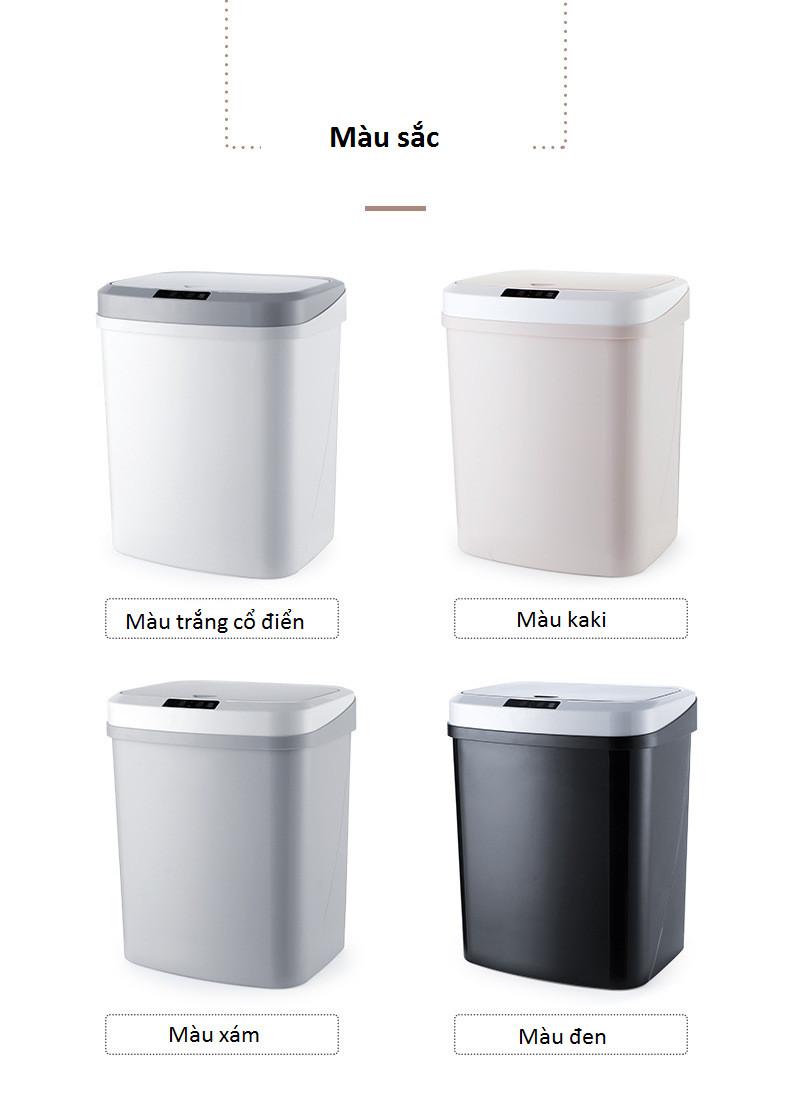 Thùng đựng rác cảm ứng hồng ngoại tự động mở đa năng cao cấp -Màu ngẫu nhiên (Tặng 2 móc treo chai nước ngẫu nhiên)