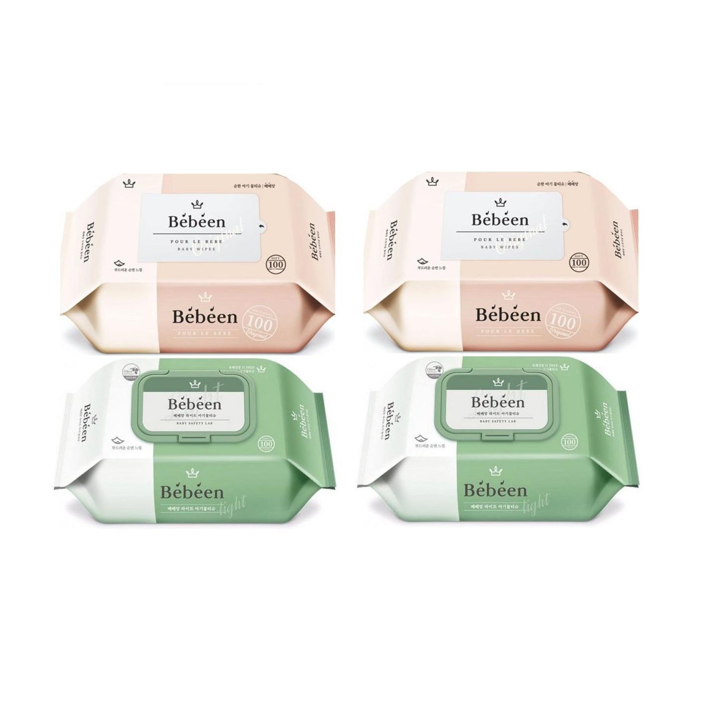 Combo 4 gói khăn ướt không mùi Bebeen Hàn Quốc 100 tờ ( màu ngẫu nhiên )