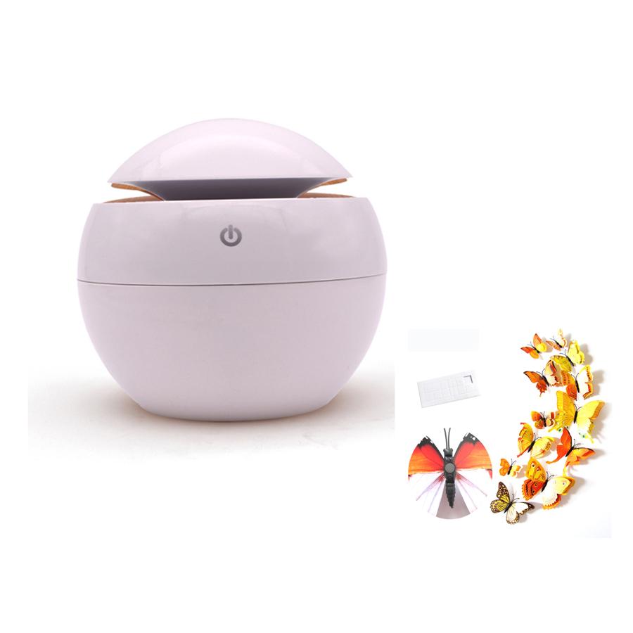 Máy xông tinh dầu tạo ẩm vỏ nhựa (tặng kèm bộ 12 con bướm trang trí nhà cửa mầu sắc ngẫu nhiên)