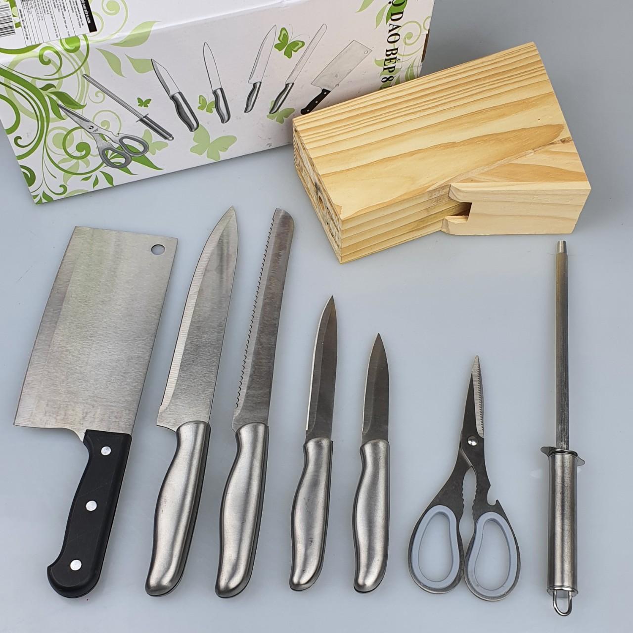 Bộ Dao Inox 8 Món Nhà Bếp FI-017 Có Hộp Đựng Gỗ Tiện Dụng Gồm Các Loại Dao,Kéo,Dụng Cụ Mài Cao Cấp