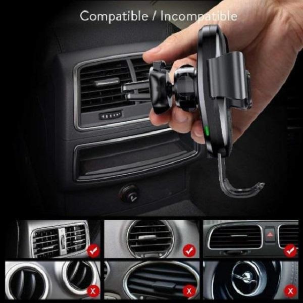 Bộ đế giữ điện thoại tích hợp sạc nhanh không dây dùng cho xe hơi - Metal Wireless Charger Gravity Car Mount(10W, Air Outlet Version)