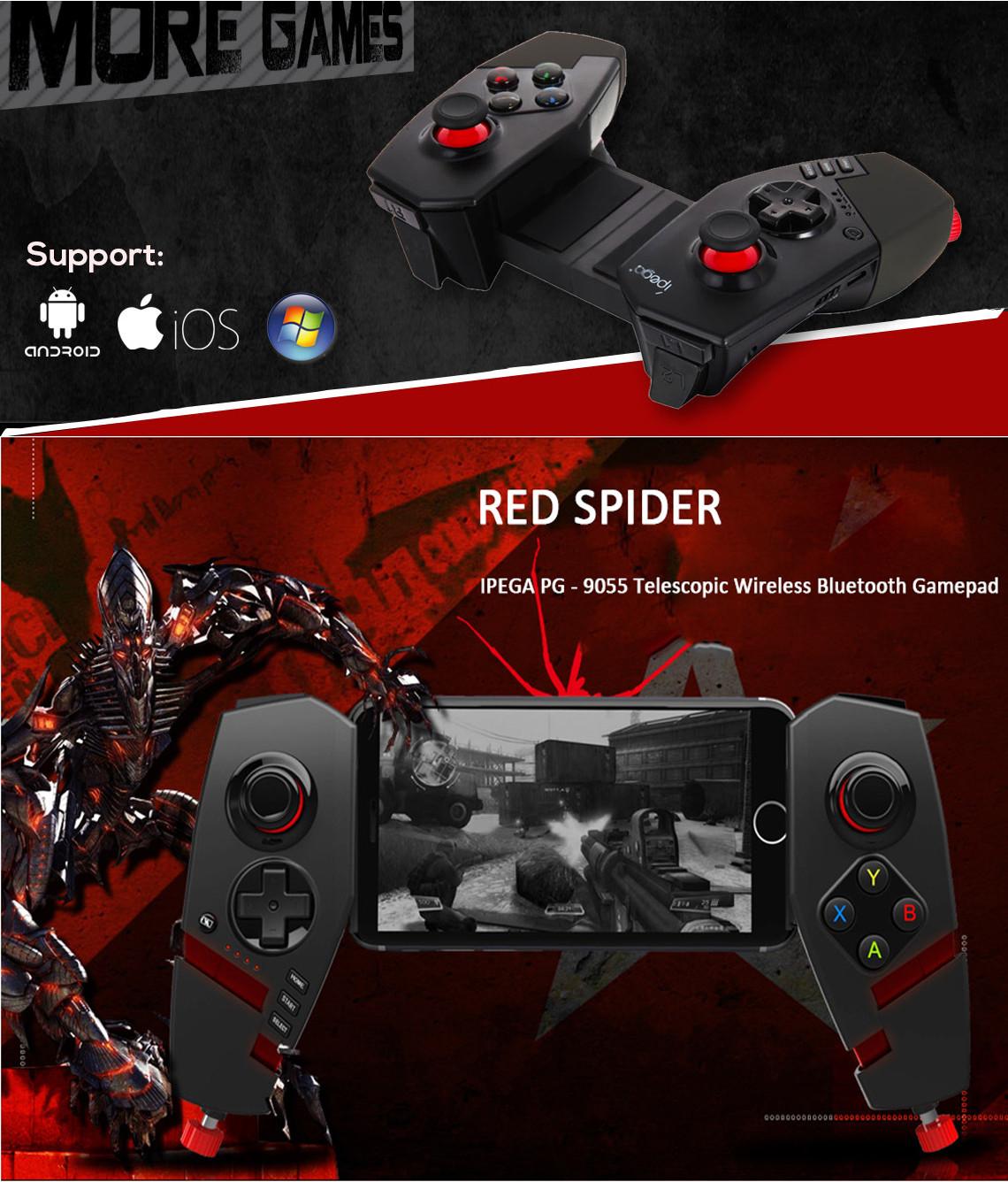 Tay Cầm Chơi Game Bluetooth Ipega PG-9055 Red Spider Hỗ Trợ PC Android Cao Cấp AZONE - Hàng Nhập Khẩu