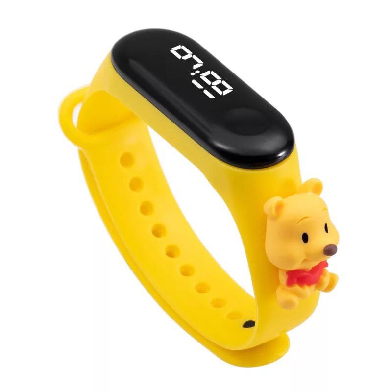 Đồng hồ trẻ em Silicon nhiều màu, đồng hồ điện tử thông minh cho bé E132 - gấu vàng