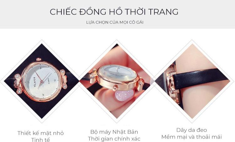 Chiếc đồng hồ thời trang nữ chính hãng Hloios, phiên bản nhỏ cực xinh, tặng vòng tay Titan - Hàng nhập khẩu
