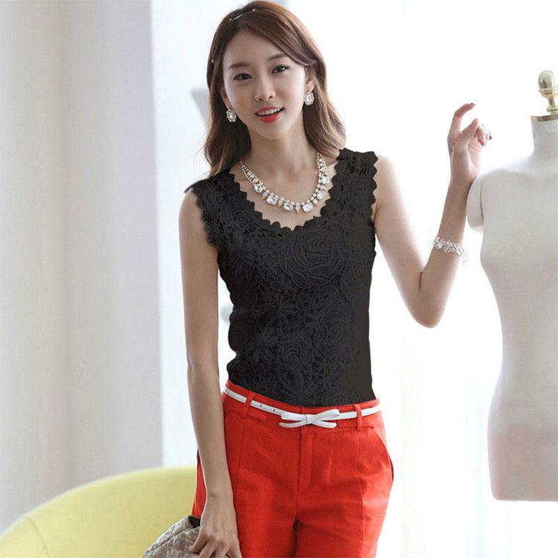 Women Summer Sleeveless Slim-Fit Lace Shirt Vest - Black Size XL
