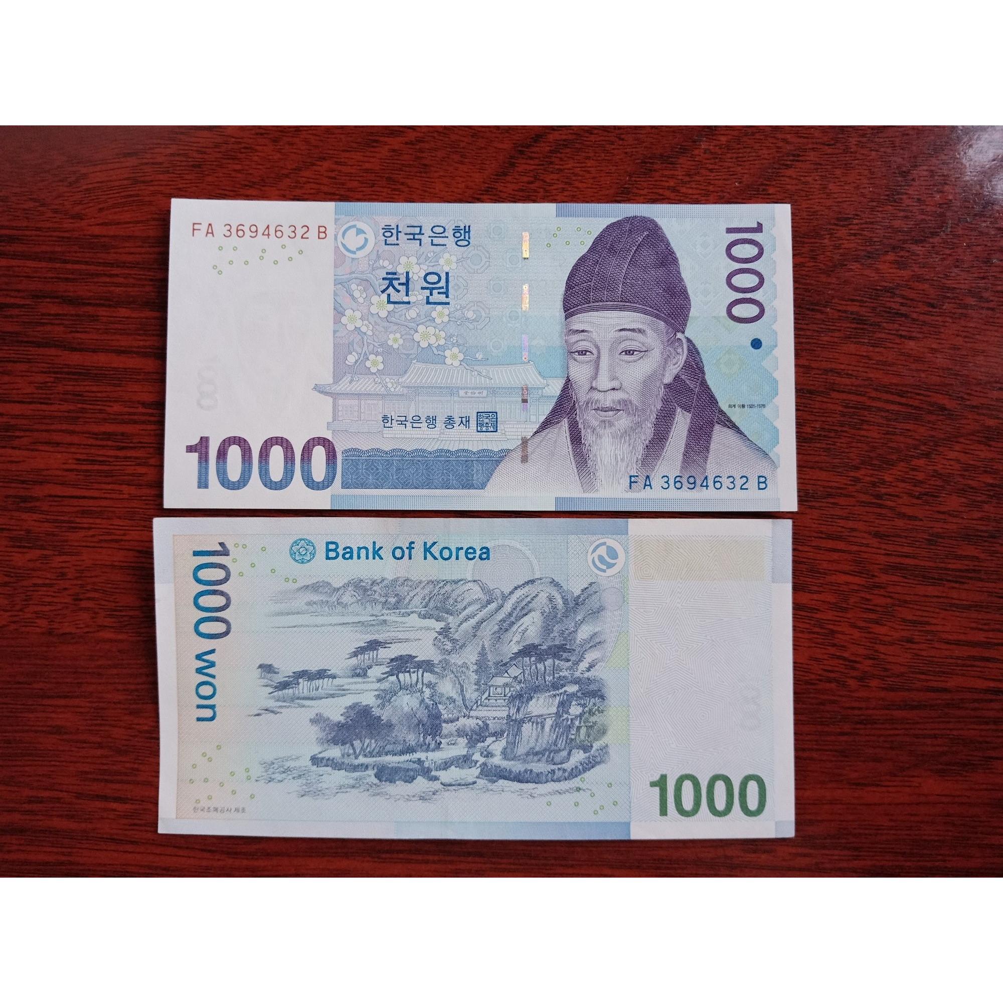 Tờ 1000 Won của Hàn Quốc xưa sưu tầm, mới 100% UNC - tặng kèm bao lì xì