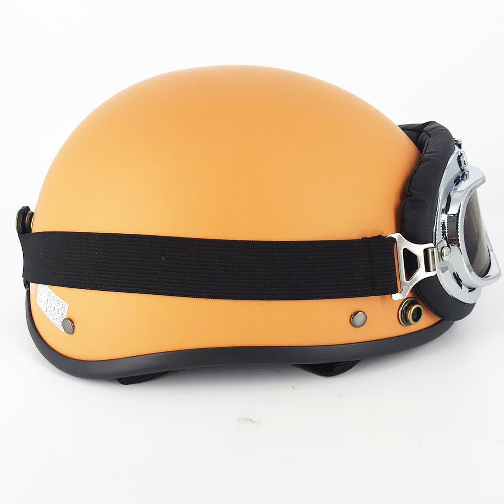 Mũ Bảo Hiểm SRT 1/2 đầu - Nón nửa đầu cao cấp + Kèm kính Phi Công Phiên Bản Mới Cam Cháy siêu hot