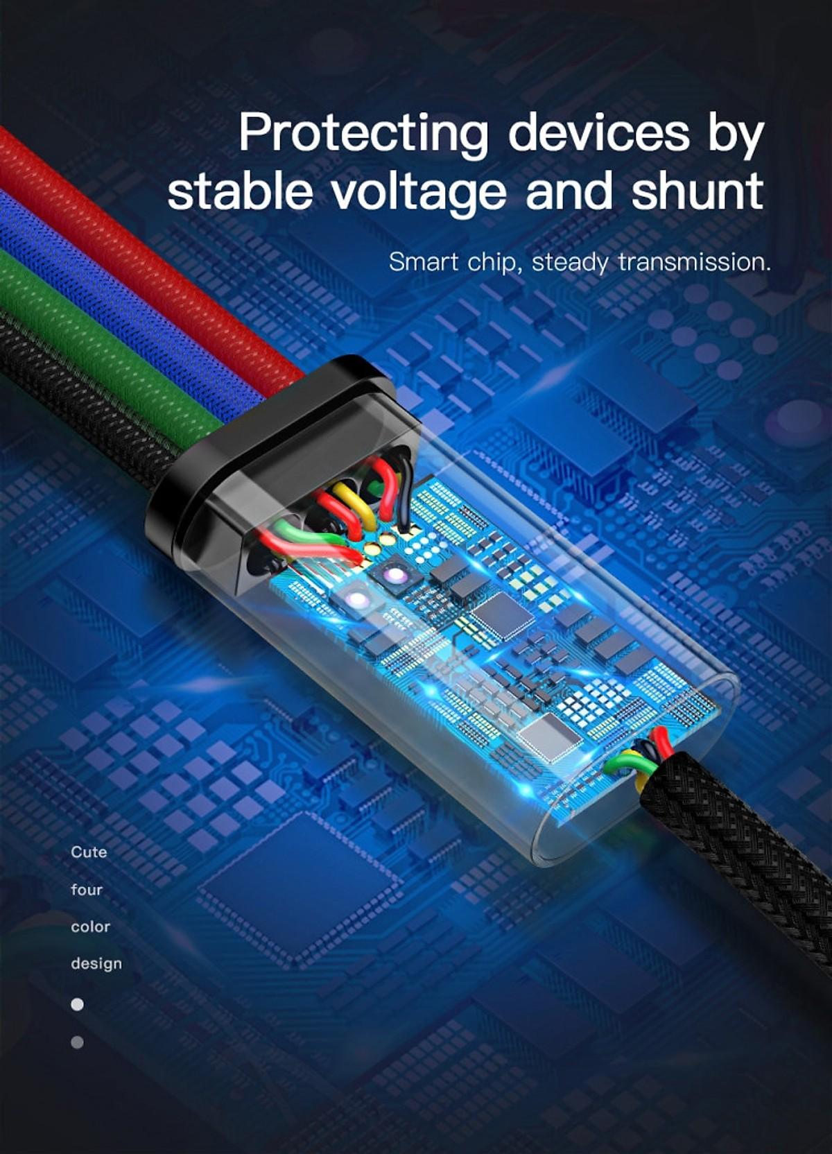 Cáp sạc nhanh 3.5A 4 trong 1 Baseus - CA1T4-C01 (2 Lightning - Type C - Micro USB) - Hàng Nhập Khẩu