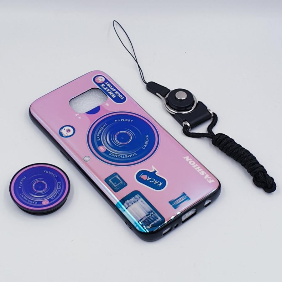 Ốp lưng hình máy ảnh kèm giá đỡ và dây đeo dành cho Samsung Galaxy S7,S7 Edge,S8,S8 Plus,S9,S9 Plus,S10,S10 Plus - Samsung Galaxy S7 Edge - Hồng