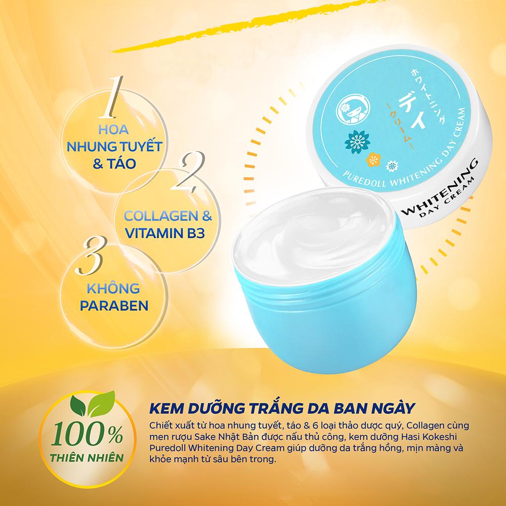 Kem Dưỡng HASI Kokeshi Trắng Da BAN NGÀY Collagen & Hoa Nhung Tuyết