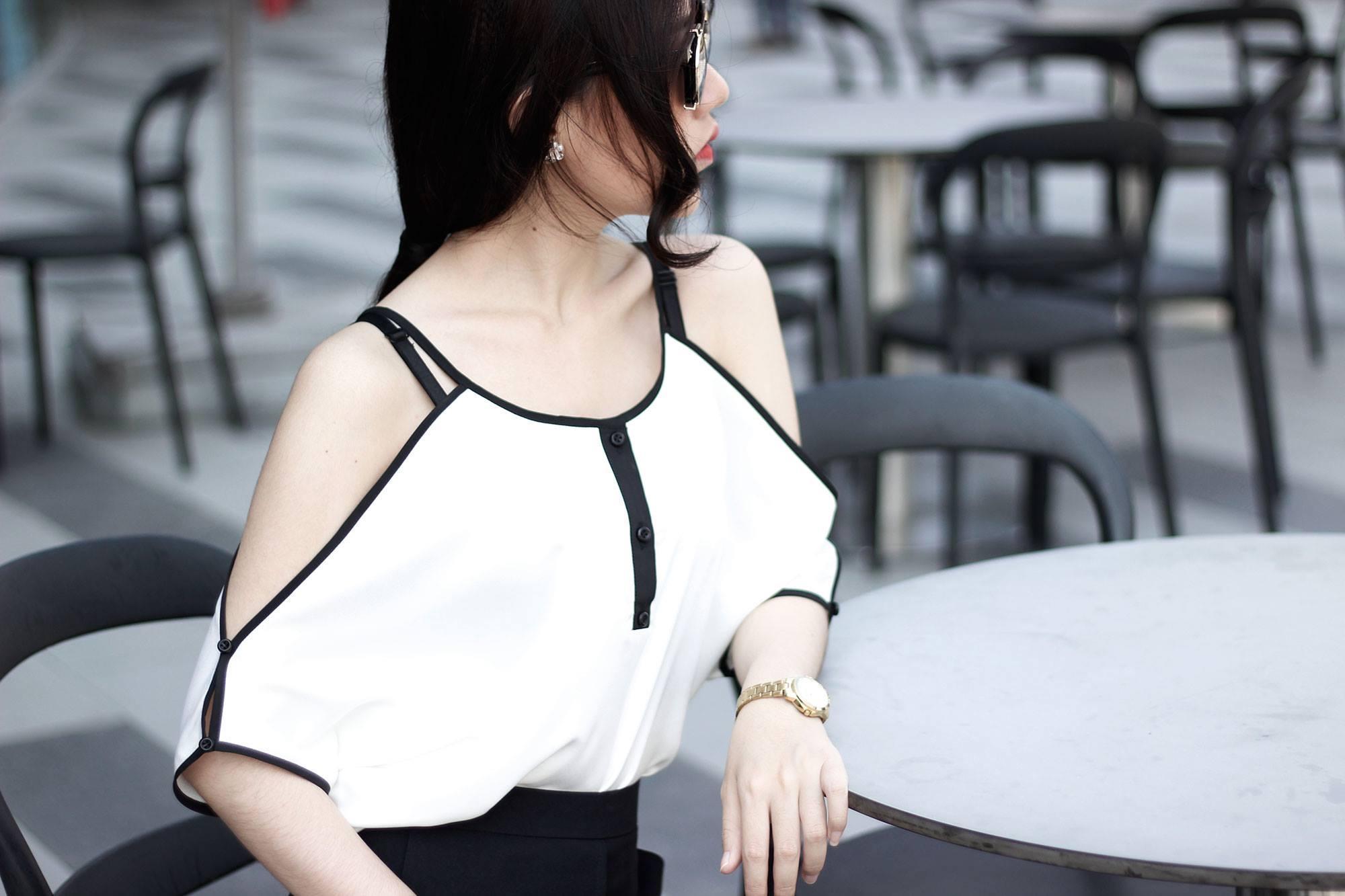 Aó thời trang rớt vai tay dơi đen