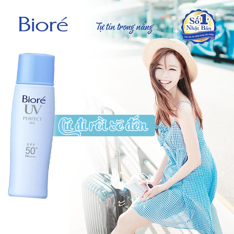 Sữa Chống Nắng Biore Perfect Milk Chống Thấm Nước SPF 50+/PA++++ Tuýp 40ML  | Tiki.vn