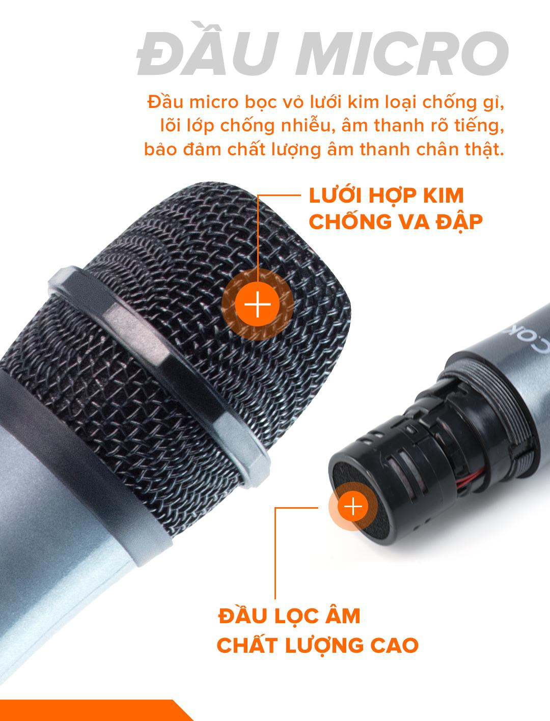Micro không dây lẻ giá rẻ C.O.K ST-106 (1 Mic) Dành cho loa kéo, dàn âm Ly có cổng Mic Jack 6.5 - Hàng chính hãng 100%