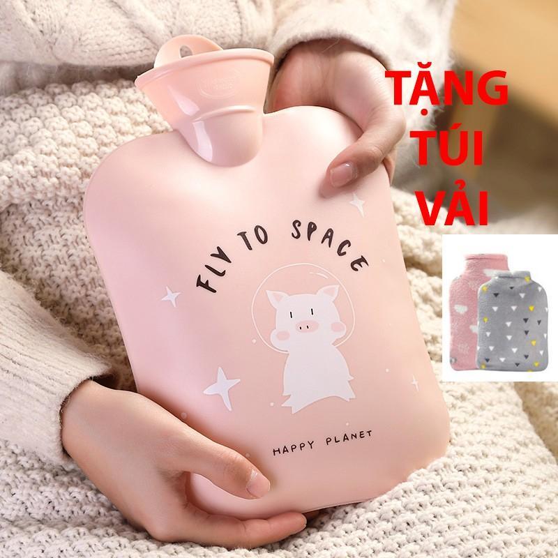 Túi Chườm Nóng Lạnh 1300ml ️  ️ Hình Cute Pig Big Size 1300ml ( Tặng Kèm Túi Vải Bông Mềm Mại).