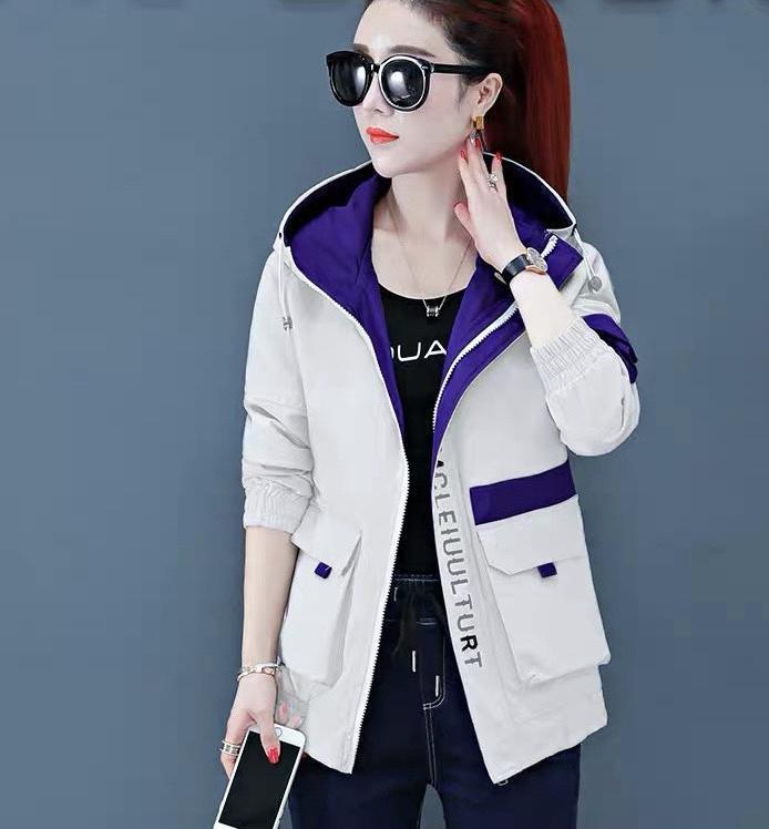 Áo khoác dù nữ phối túi hộp màu sắc đặc sắc