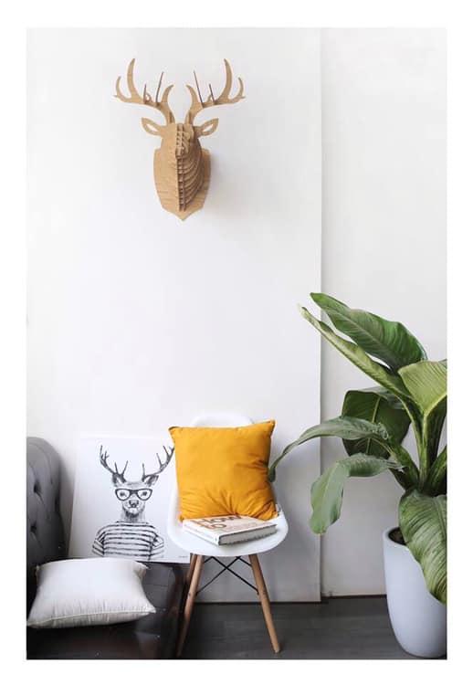 Đầu hươu gỗ ghép treo tường