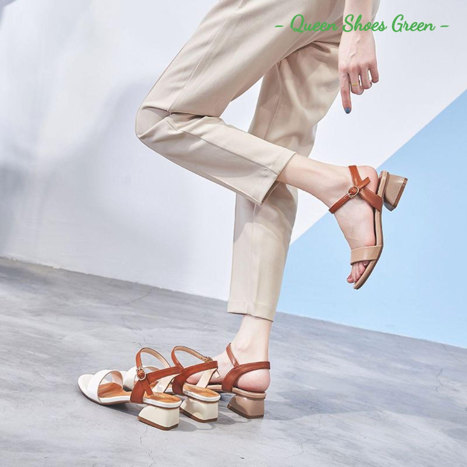Dép cao gót nữ đế vuông 4 phân giả gỗ, guốc sandal cao gót mũi vuông, lót da êm ái kiểu dáng thời trang size 35 đến 39