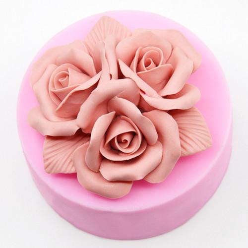 Khuôn silicon 3 nụ hồng chùm