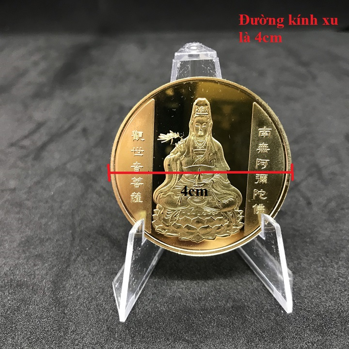 Xu Quan Âm màu vàng Cá Chép, dùng để làm quà tặng, biếu, xỏ lỗ đeo dây hoặc bỏ vào túi mang theo - SP002378