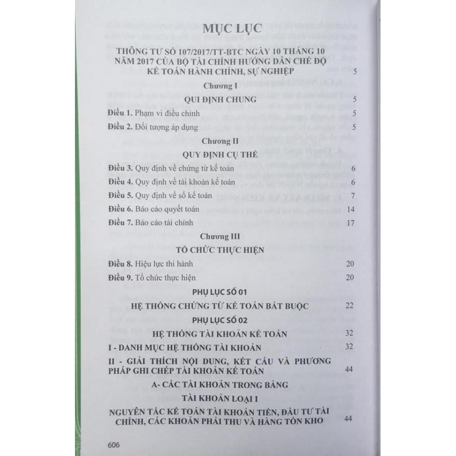 Chế độ kế toán hành chính sự nghiệp (Ban hành theo thông tư 107/2017/TT-BTC ngày 10/10/2017 của Bộ tài chính)